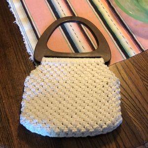 Vintage white crochet handbag oversized handles